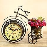 Porcyco Retro Uhr, Stifthalter Fahrraduhr Tisch Schreibtisch Vintage Quarz Dreirad Wecker...