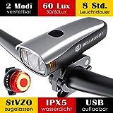 Fahrradlicht LED Set, Fahrradbeleuchtung 60 Lux 2 Leuchtstärke, Fahrradlichter USB Aufladbar,...