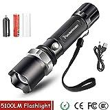 Taktische LED-Taschenlampe, 5100 Lumen, XM-T6, mit Zoom, 5 Modi, LED-Taschenlampe, 18650...