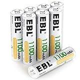 EBL Micro AAA Akku NI-MH Akkubatterien 1100mAh 8 Stück mit Aufbewahrungsbox, geringe...