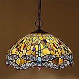 TTFFWW 16 Zoll Tiffany-Art-Leuchter, Buntglas-Libelle Deckenleuchten, Geeignet Für Wohnzimmer...