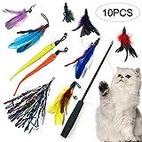 Hoomall Katzenspielzeug Set Interaktives Spielzeug mit Federn Katze mit Katzenangel Ersatzfedern 10...
