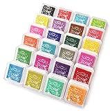 Bestele Stempelkissen Bunt, 24 Farben Stempelfarbe Waschbar Fingerabdruck Set,Wasserlöslich Stamp...