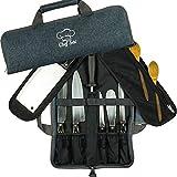 Köchmesser Tasche Rolltasche Etui | 8 Taschen für Messer & Küchenutensilien | 2 Schutzklappen mit...