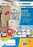 HERMA 12902 Haushalts-Etiketten DIN A4 ablsbar (63,5 x 38,1 mm, 5 Blatt, Papier, matt)...