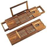Nuokix Holz Badewanne Tablett Bamboo Bad Caddy-Brücke, Ausziehbare Holztablett Mehrzweck Dusche...
