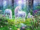 Malen nach Zahlen für Erwachsene - Sunshine Forest White Horse - DIY Ölgemälde für Erwachsene...