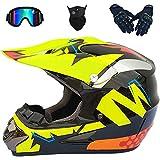Vollgesichts-MTB-Helm, Motocross-Helm für Kinder und Erwachsene mit Schutzbrillenmaskenhandschuhen...