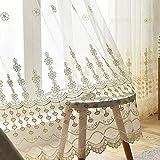 ZYY-Home curtain Voile Transparente Vorhang Blume Stickerei Halbtransparent Vorhänge mit Ösen...