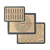 Lazymi Antihafte Backmatte Silikon mit Messung 40x30cm für Macaron/Kuchen/Brot/Pizza Matte [3...