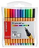 Fineliner - STABILO point 88 Mini - 12er Pack - mit 12 verschiedenen Farben
