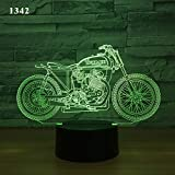 BFMBCHDJ Motorrad Motorrad 3D Nachtlampe Acryl Laser Illusion 7/16 Farben Remote Kinder Freunde...