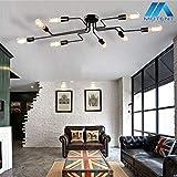 Vintage 8-flammige Deckleuchte, MOTENT minimalistisch Modern Industrielampe 27,17' Breite...