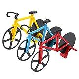 Skystuff 3-teilige Pizzaschneider, Fahrrad-Pizzaschneider aus Edelstahl mit Kunststoffhalter,...