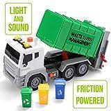 JOYIN 31.7cm Müllwagen Spielzeug, Reibungsbetriebene Abfallentsorgung Recycling LKW Spielzeug Set...