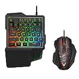 Nrpfell ein Hand Tastatur und Maus Set Spiel Artefakt Manipulator Tastatur Kabelgebundene Tastatur...