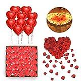 Romantisch Deko Set,RANJIMA Kerzen Rote Teelichter,Rot Herz Luftballons,Romantisch Rosenblätter,50...