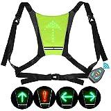 Sproo Reflektierende Fahrradweste Mit LED Lichtern, Wiederaufladbare USB Fahrradtasche...