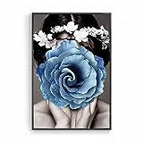 Geiqianjiumai Nordic schwarz und weiß Poster charmante schönheit Frau Blume wandkunst leinwand...
