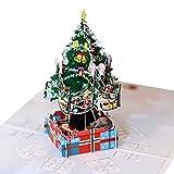 LZL Frohe Weihnachten 3D-Pop-Up-Folding Gruß-Karte Feiertags-Einladungskarten mit Umschlag...