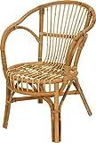 Klassischer Flecht-Sessel im skandinavischem Stil/Korb-Stuhl aus Natur-Rattan (Ungeschlt Natur)