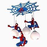 LED Pendelleuchte Kinderzimmer Spider-Man Beleuchtung 3-Flammig Hängelampe Glas Lampenschirm Jungen...