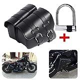 1 Paar Motorrad Satteltaschen Leder Abnehmba Wasserdichte Schwarz Universal für Harley Motorrad...