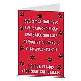 Lustige Geburtstagskarte von The Dog Pet Thema, perfekt für Mutter, Vater, Ehemann und Ehefrau.