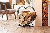 Kaminholz-Regal'Herz' aus Metall, schwarz, Brennholz-Ständer, Feuerholz-Halter