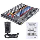 Btuty 12 Kanäle Mic Line Audio Mixer Mischpult Drahtlose BT-Verbindung USB XLR-Eingang 3-Band EQ...