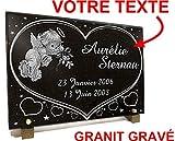 Unbekannt Grabschild Engel, Herzen, Sterne, Blumen, Granit, Gravur, 30 x 20 x 2 cm