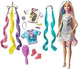 Barbie GHN04 - Barbie Fantasie-Haare Puppe mit Meerjungfrauen- und Einhorn-Looks, für Kinder ab 5...
