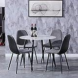 GOLDFAN Esstisch mit 4 Stuhl Glastisch und Grau Stoff Stuhl Runder Tisch Glas Marmor für Wohnzimmer...