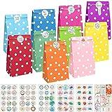 KASZOO® Papiertüten, 40 Stück Bunte Geschenktüten mit 84 Aufkleber (Auf Deutsch) Candy Tüten...