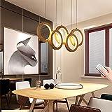 LED-Hängeleuchte Holz, Dimmbar esstisch Pendelleuchte, 5-Ring Design Deko Esszimmerlampe, 70cm...