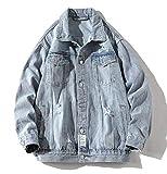 Bieten Herren Jacke mit Knopfleiste, stylisch, schlank, langärmelig, Jeans (Farbe: Blau, Größe:...