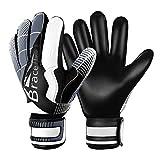 Brace Master Torwarthandschuhe mit Fingerschutz,Protect & Super-Grip 3+3MM Handflächen Fussball...
