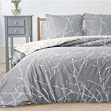 Bedsure Bettwäsche Muster 135x200 cm grau Bettbezug Set mit Zweige Muster, 2 teilig microfaser...