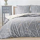 Bedsure Bettwsche 200x200 cm grau Bettbezug Set mit Zweige Muster, 3 teilig microfaser Bettwsche...