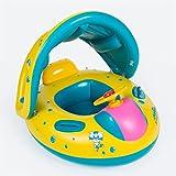 kuaetily Baby Schwimmring Kinderboot mit Dach ungd Griffen Schwimmhilfe Schwimmtrainer aus PVC...