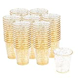 300 Hartplastik Schnapsgläser mit Elegantem Goldglitter, 1oz(30 ml) - Einweg, Wiederverwendbar,...