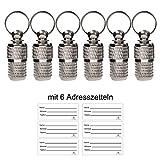 AMATHINGS 6 Stück (6er-Pack) Adressanhänger Adresskapsel Geriffelt In Silber 2,5 cm Länge Für...
