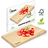 Schneidebrett Holz Groß 41 x 28 x 2 cm - aus FSC-Holz hergestellt - Holzbrett Küche für...
