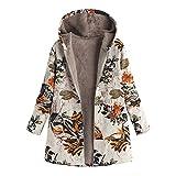 DAY.LIN Top Damen Damen Winter warme Outwear Mit Kapuze Taschen mit Blumenmuster Vintage...