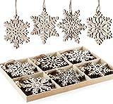 24 Stück Weihnachten Holz Schneeflocken Unvollendete Vintage Holz Anhänger mit Jute Kordel...