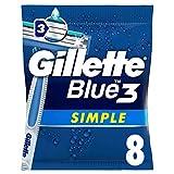 Gillette Blue 3 Simple Einwegrasierer Männer mit verbesserten Gleitstreifen, 8 Rasierer
