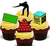Made4You Snookerspieler  essbare Cupcake-Topper  stehende Oblaten Kuchendekorationen