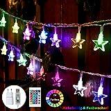 50 LED Bunt Lichterkette Sterne, 7.5M 4 Modi Stern Lichterkette Kinder USB mit Fernbedienung,...