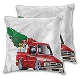 Xlcsomf Weihnachts-Kissenbezug, bedruckt, 61 x 61 cm, roter Bauernhof-Truck, bequem und weich,...