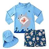 Junge Bademode Zweiteiliger Badeanzug UV-Schutz Bade-Set Langarm T-Shirt Badeshorts mit Kinder...